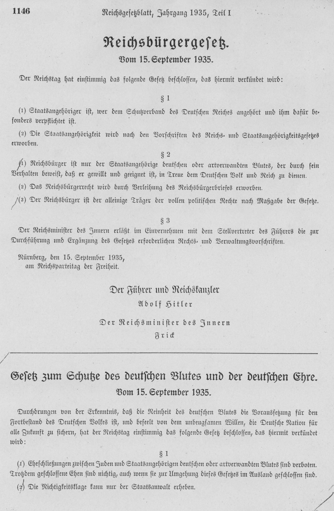 Reich Citizenship Law (Reichsbürgergesetz) for the Protection of German Blood and German Honor