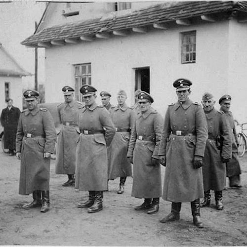 SS staff outside the Belzec camp perimeter