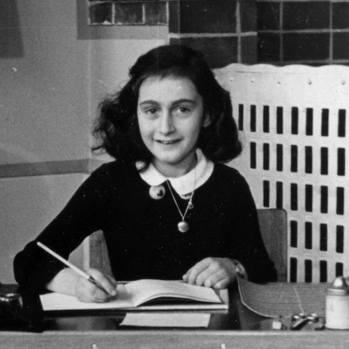 Anne Frank in 1940, while at 6. Montessorischool, Niersstrraat 41-43, Amsterdam (the Netherlands). Photograph by unknown photographer. via Wikimedia Commons.