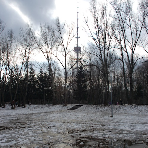 View of the TV tower from Babi Yar, Kiev. By Roland Geider (Ogre) (own work) [Public domain], via Wikimedia Commons.