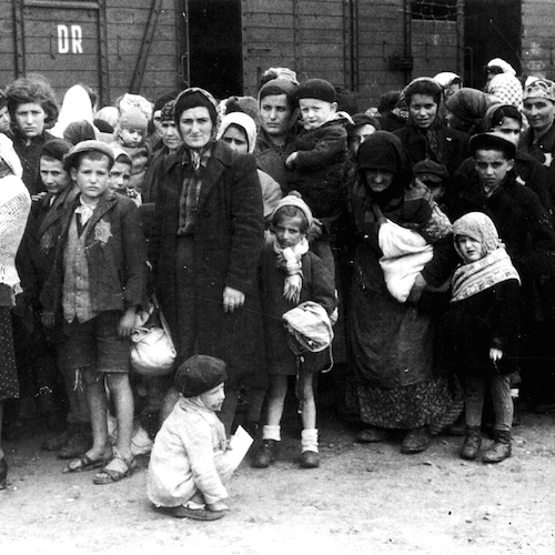 Hungarian Jews arriving at Auschwitz. Bundesarchiv, Bild 183-N0827-318 / CC-BY-SA 3.0 [CC BY-SA 3.0 de (http://creativecommons.org/licenses/by-sa/3.0/de/deed.en)], via Wikimedia Commons.