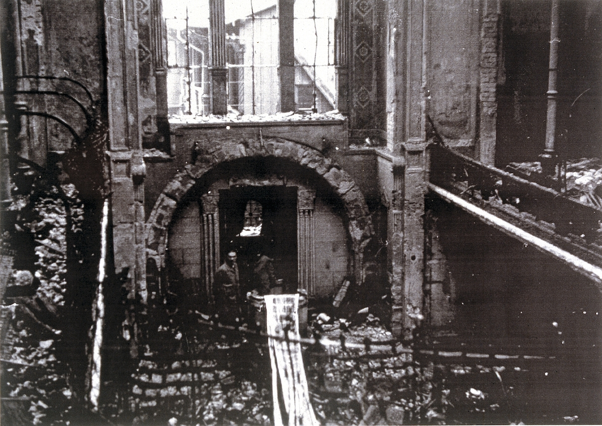 Damage done to Karlsruhe synagogue during Kristallnacht. See page for author [Public domain]